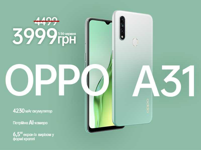 Компания OPPO анонсировала новый бюджетный телефон который получил название A31 Новый смартфон получил 65-дюймовый дисплей разрешение которого составляет 1600 на 720
