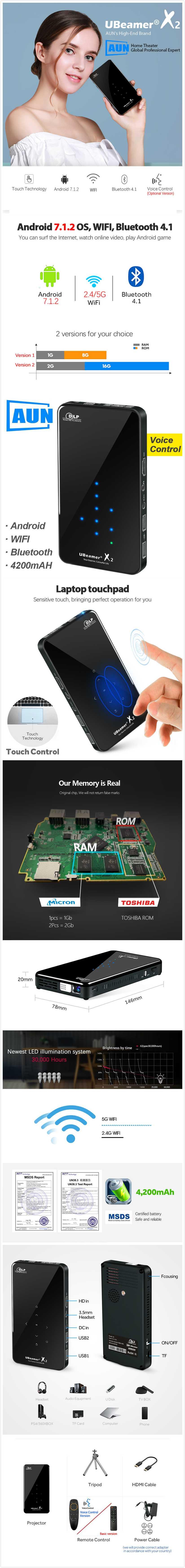 Портативный проектор aun x3: обзор, характеристики